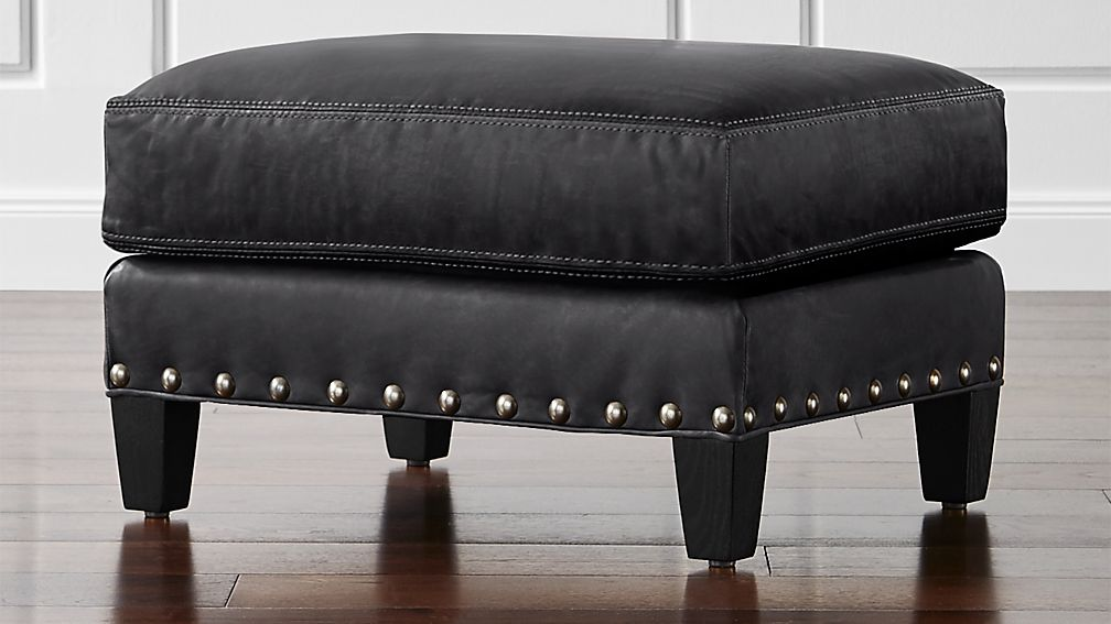 metropole leather ottoman alfa midnight crate and barrel. Black Bedroom Furniture Sets. Home Design Ideas