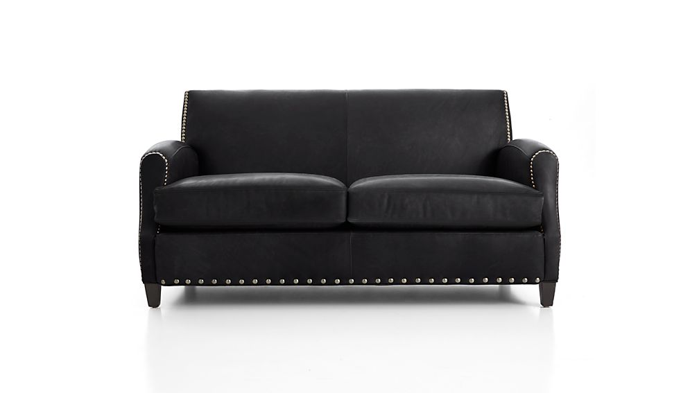 Metropole Leather Loveseat Alfa Midnight Crate And Barrel