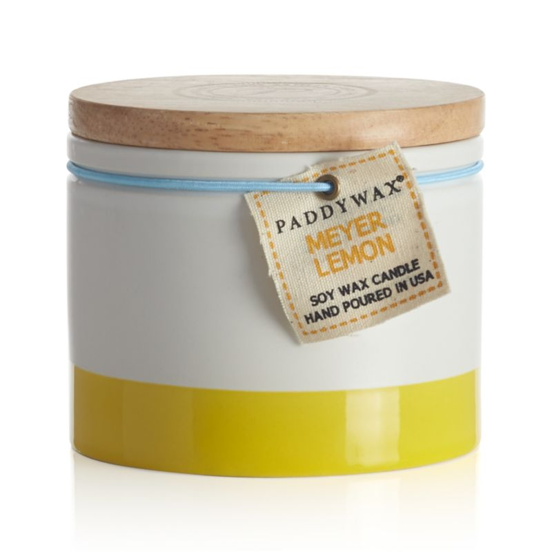 The sweet smell of Meyer lemon infuses the home with the scent of springtime. Ceramic candleholder continues to shine in white with sunny stripes when not in use, topped with a wood lid.<br /><br /><NEWTAG/><ul><li>Scented wax</li><li>Cotton wick</li><li>Ceramic candleholder with wood lid</li><li>Burn time: 40 hours</li><li>Made in China and USA</li></ul>