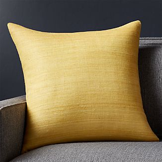 """Michaela Yellow 20"""" Pillow with Feather-Down Insert"""