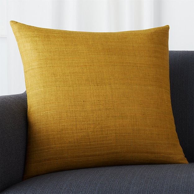 "Michaela Gold 20"" Pillow with Feather-Down Insert"
