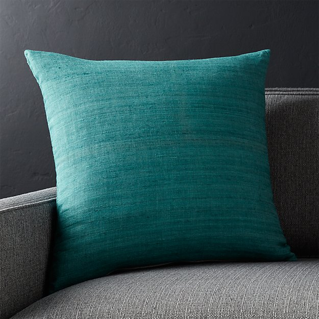 """Michaela Azure Blue 20"""" Pillow with Feather-Down Insert"""