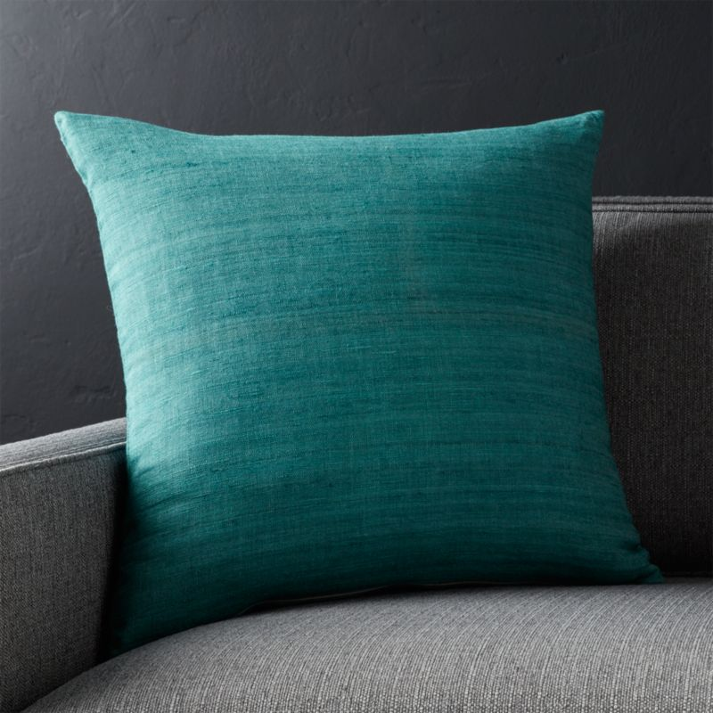 "Michaela Azure Blue 20"" Pillow with Down-Alternative Insert"