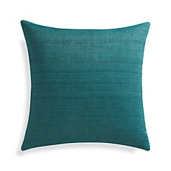 "Michaela Azure Blue 20"" Pillow with Feather-Down Insert"