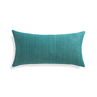 "Michaela Azure Blue 24""x12"" Pillow with Feather-Down Insert"