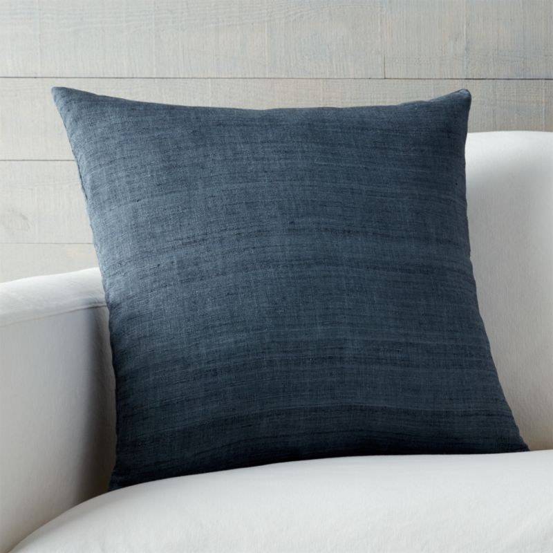 Michaela Blue Silk Throw Pillow Crate and Barrel