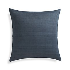 "Michaela Dusk Blue 20"" Pillow with Feather-Down Insert"