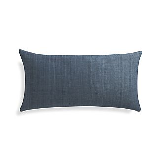 "Michaela Dusk Blue 24""x12"" Pillow with Feather-Down Insert"