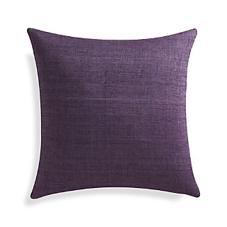 "Michaela Grape Purple 20"" Pillow with Feather-Down Insert"
