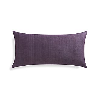 "Michaela Grape Purple 24""x12"" Pillow with Feather-Down Insert"