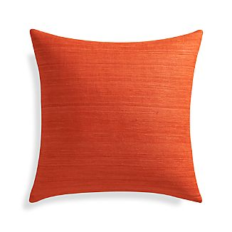 "Michaela Orange 20"" Pillow with Feather-Down Insert"