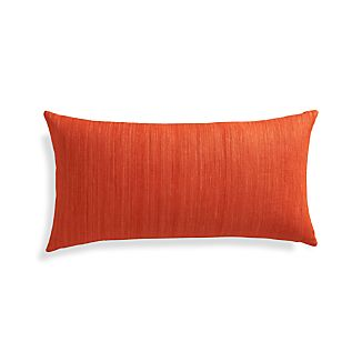 "Michaela Orange 24""x12"" Pillow with Feather-Down Insert"