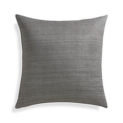 "Michaela Smoke Grey 20"" Pillow with Feather-Down Insert"
