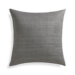 "Michaela Smoke Grey 20"" Pillow with Down-Alternative Insert"