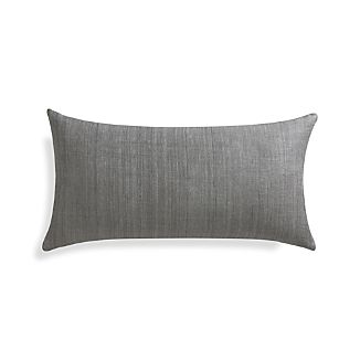 "Michaela Smoke Grey 24""x12"" Pillow with Feather-Down Insert"