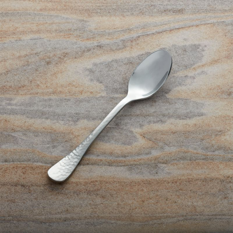 All-purpose utensil with hammered handle caters to small foods and condiments at brunches, showers and cocktail parties.<br /><br /><NEWTAG/><ul><li>Stainless steel</li><li>Dishwasher safe; avoid citrus-scented detergents</li><li>Forged</li><li>Made in Vietnam or China</li></ul>