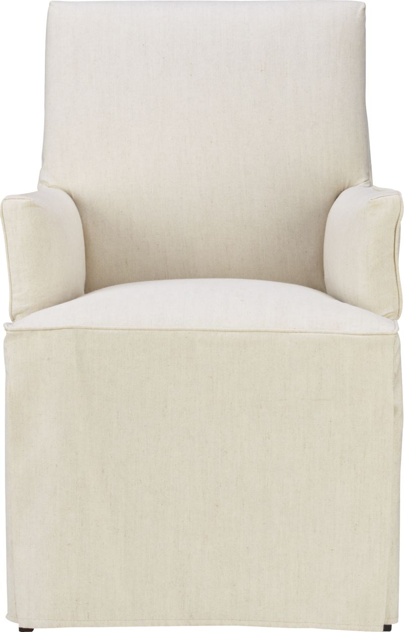 Our Miles Arm Chair gets a makeover with the casual formality of a floor-length skirted slipcover. Relaxed, natural cotton-linen slipcover with self-welt detailing.<br /><br /><NEWTAG/><ul><li>50% linen, 50% cotton</li><li>Self-welt detailing</li><li>Machine washable</li><li>Made in North Carolina, USA of domestic and imported materials</li></ul>