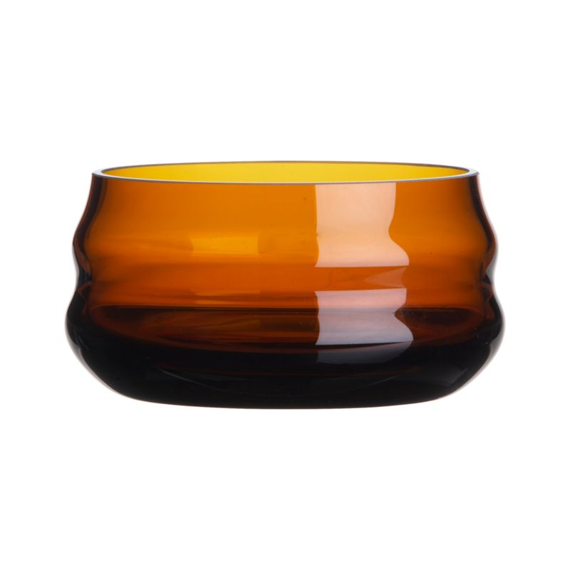 Cleanly styled mid-century modern design, revived from the archives of a venerable European glassworks, artisan crafted in warm amber tones, scaled for serving nuts, olives, small snacks, dip. Great on its own or paired with complementing blue bowl. Created exclusively for us by Krosno, a glass collective dating back to 1923.<br /><br /><NEWTAG/><ul><li>Handcrafted</li><li>Glass</li><li>Hand wash</li></ul>