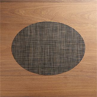 Chilewich ® Mini Basketweave Dark Walnut Oval Vinyl Placemat