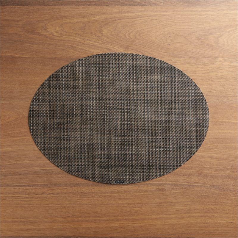 Chilewich ® Mini Basketweave Dark Walnut Oval Vinyl Placemat