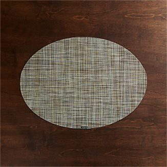 Chilewich ® Mini Basketweave Pistachio Oval Vinyl Placemat