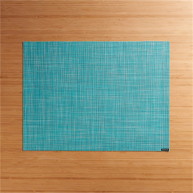 Chilewich 174 Mini Basketweave Turquoise Vinyl Placemat