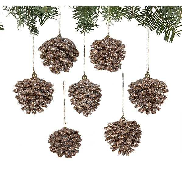 Set of 6 Mini Beaded Gold Pinecone Ornaments