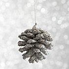 Mini Silver Beaded Pinecone Ornament.
