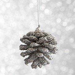 Mini Beaded Silver Pinecone Ornament