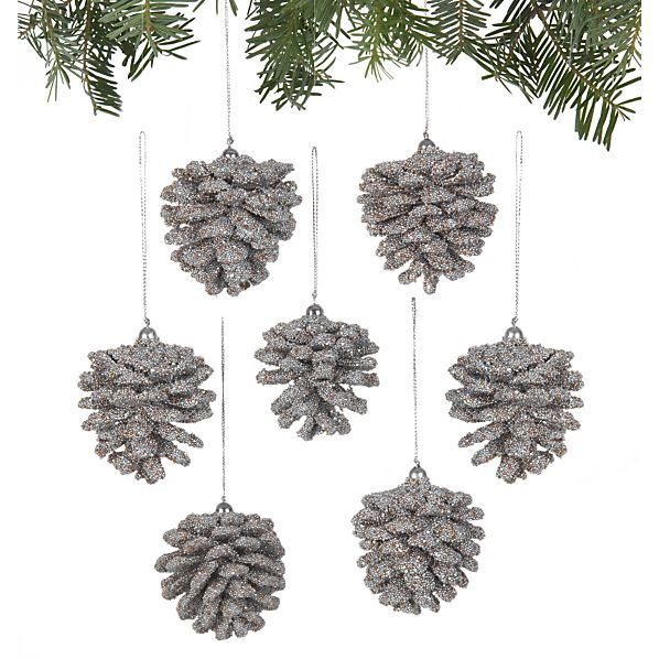 Set of 6 Mini Beaded Silver Pinecone Ornaments