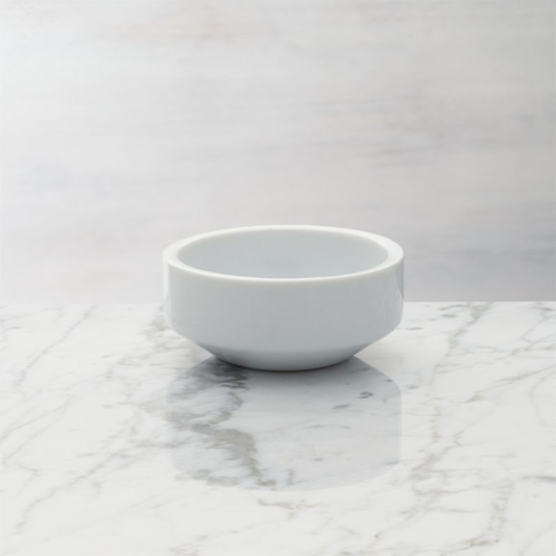 Mini bowls designed to suit your meal, décor or mood. Aaron Probyn's suite of nine small-sized bowls yields big results, offering your choice of size, shape and material for serving sauces, spices and condiments. Great for kitchen prep, too. Straight-sided white porcelain bowl tapers at the base.<br /><br /><NEWTAG/><ul><li>Designed by Aaron Probyn</li><li>100% porcelain</li><li>Dishwasher-, microwave- and oven-safe to 350 degrees</li><li>Made in China</li></ul>