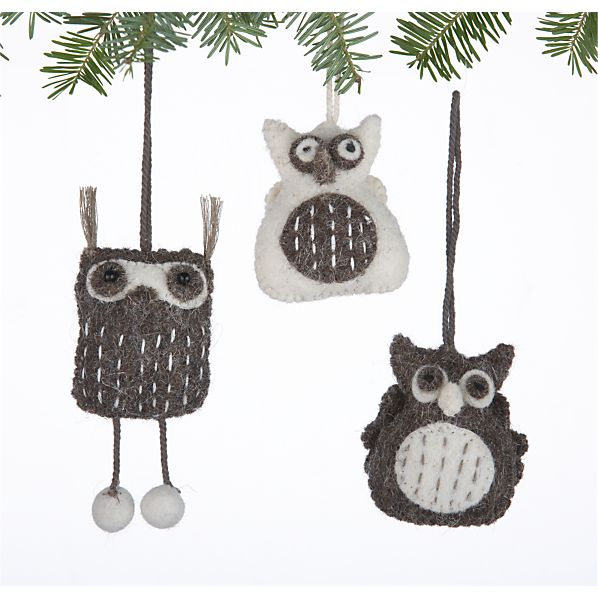 Set of 3 Mini Felt Owl Ornaments