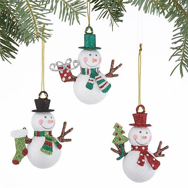 Set of 3 Mini Glitter Snowman Ornaments