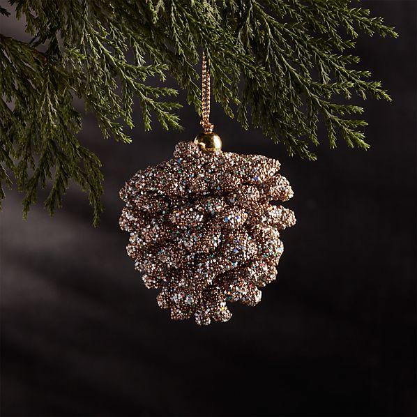 Mini Beaded Gold Pinecone Ornament