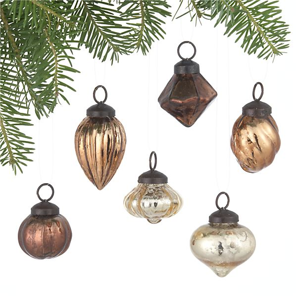 Set of 6 Mini Antiqued Metallic Ornaments
