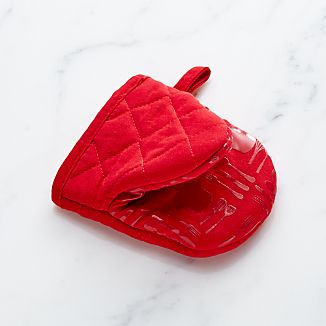 Red Mini Oven Mitt with Silicone Grip