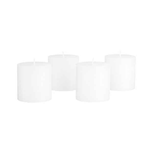 Set of 4 Mini White Pillar Candles