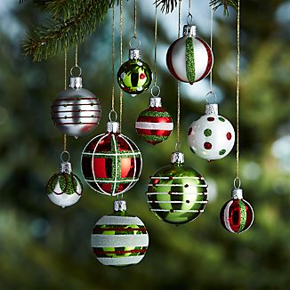 Set of 10 Mini Red and Green Ornaments