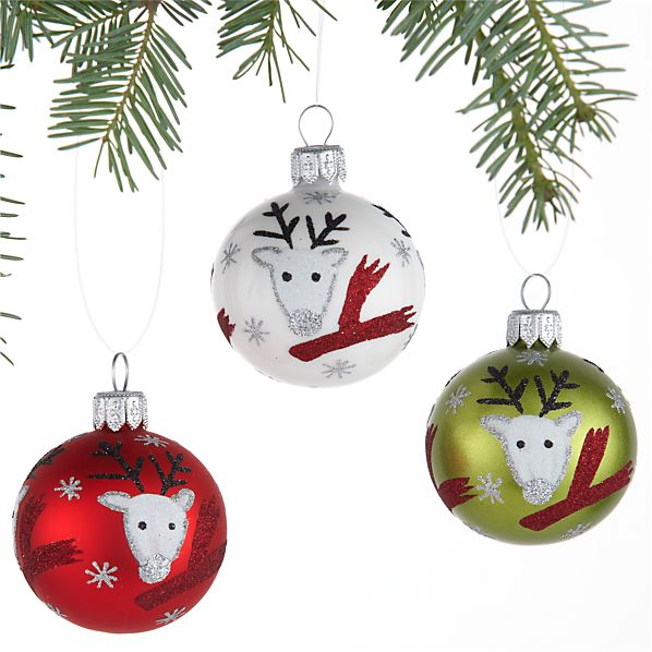 Set of 3 Reindeer with Scarf Ball Ornaments