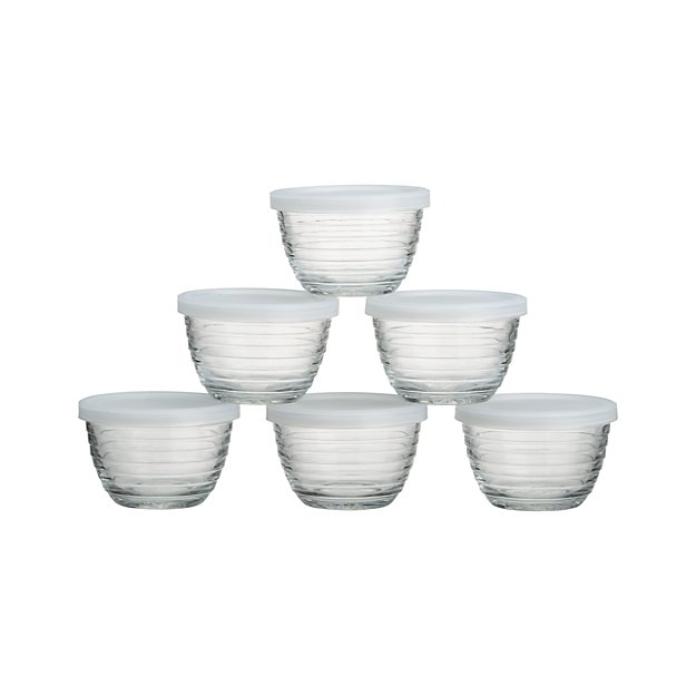 Mini Ribbed Bowl With Lid Set Of Six Crate And Barrel