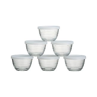 Mini Ribbed Bowl with Lid Set of Six
