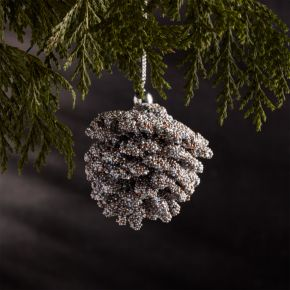 Mini Beaded Silver Pinecone Ornament