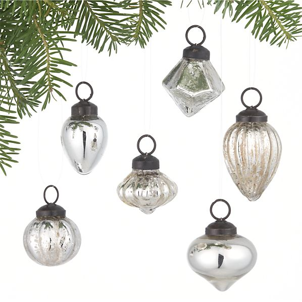 Set of 6 Mini Antiqued Silver Ornaments