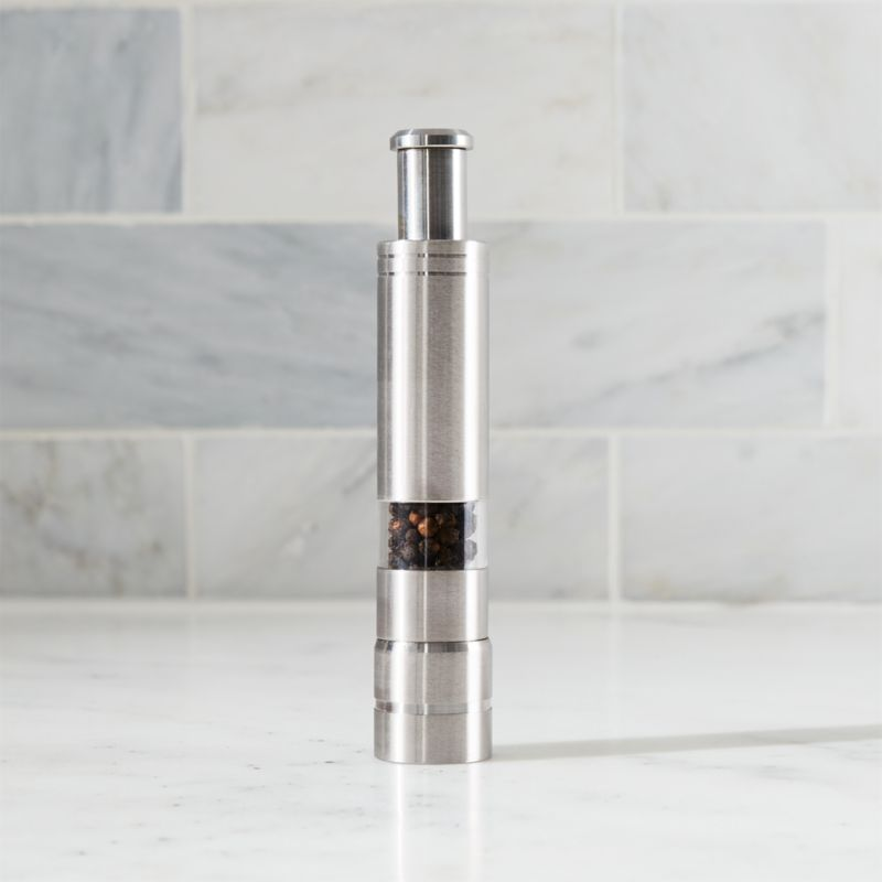 A timely, shorter design for fresh-ground pepper. The stature (see additional photos) of this sleek stainless mill doesn't affect its commercial-quality performance, and makes it great for moveable feasts.<br /><br /><NEWTAG/><ul><li>Stainless steel with view window</li><li>Non-adjustable stainless steel grinding mechanis (not for use with salt)</li><li>Wipe with a damp cloth</li><li>Comes filled with peppercorns</li><li>Made in Taiwan</li></ul>