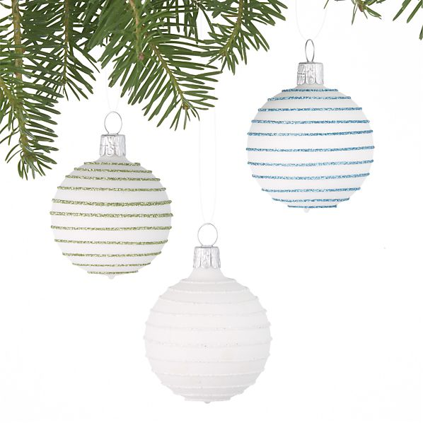 Set of 3 Mini White Striped Ball Ornaments