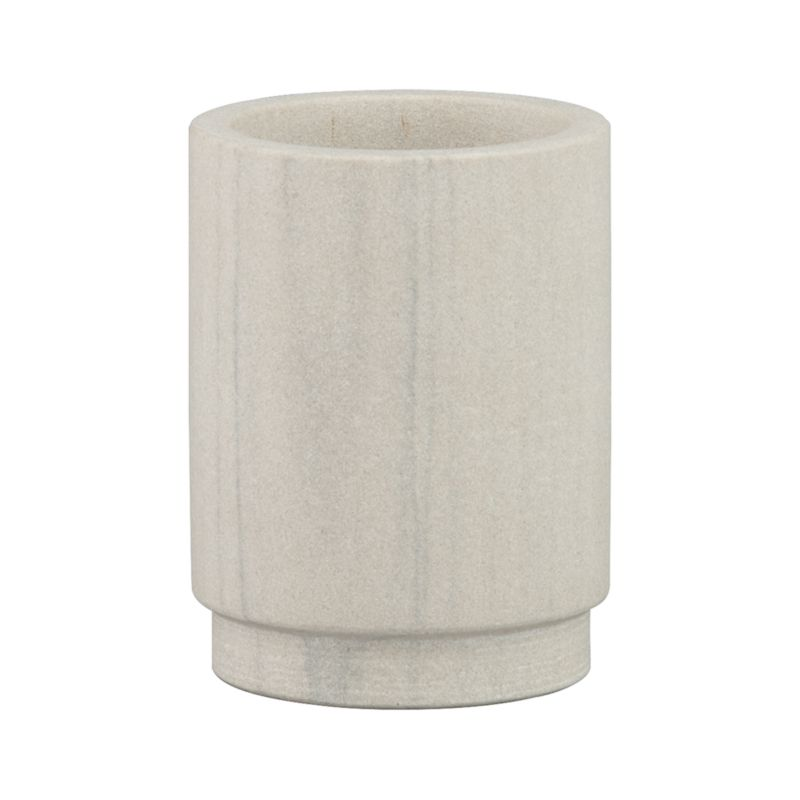 Carved sandstone column with a hint of mint adds a soft note of color and natural touch to the bath.<br /><br /><NEWTAG/><ul><li>Sandstone</li><li>Brass and plastic soap pump</li><li>Made in India</li></ul>