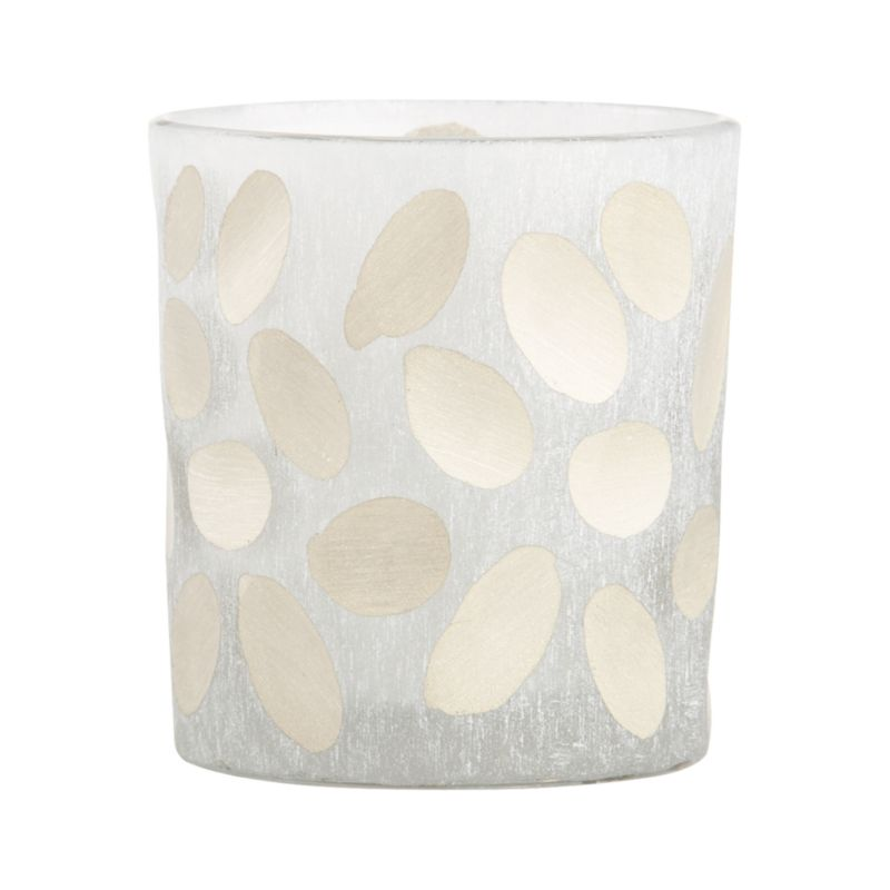 Candlelight shines soft and enchanting through handcrafted candleholders, etched with a subtle frosted texture and incised with hand-cut ovals. Created in India by highly skilled artisans whose unique body of work is distinguished by intricate cutwork that imparts mesmerizing pattern and texture.<br /><br /><NEWTAG/><ul><li>Handcrafted</li><li>Glass</li><li>Wipe clean with soft, damp cloth</li><li>Accommodates up a standard votive or tealight candle, sold separately</li><li>Made in India</li></ul>