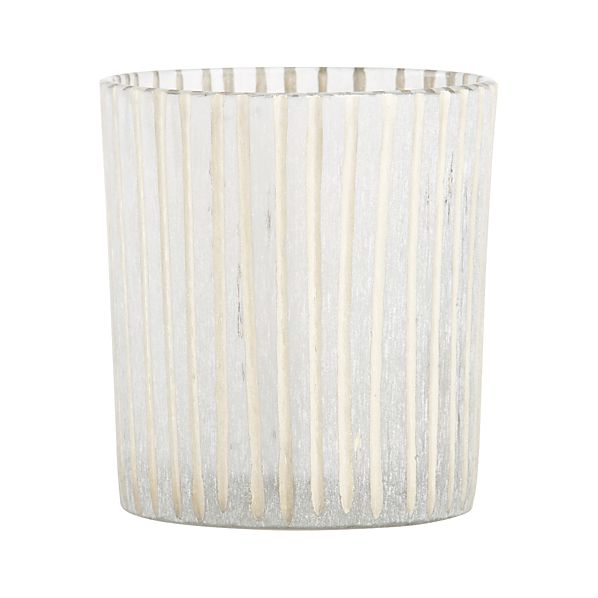 Minx Striped Frosted Glass Votive Candle Holder