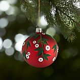 Mistletoe Red Ball Ornament
