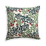"Mistletoe 18"" Holiday Pillow with Feather-Down Insert"